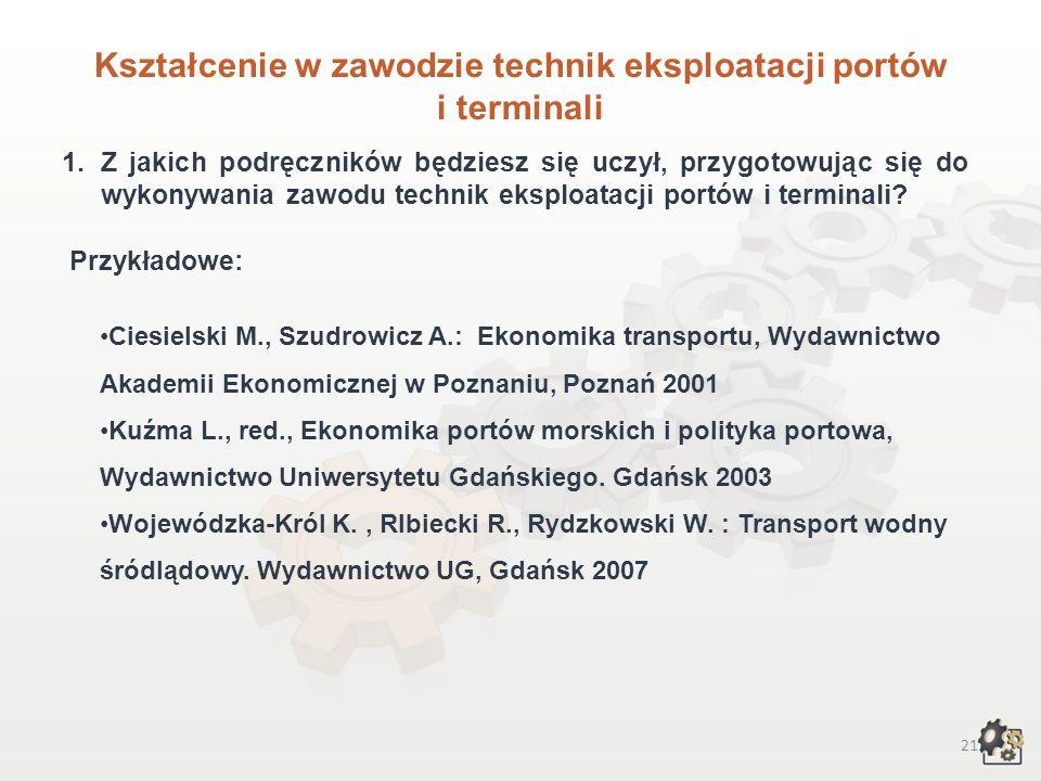 22 Kształcenie w zawodzie Praca własna… Poszukaj w najbliższej okolicy adresów szkół, instytucji edukacyjnych w których możesz podjąć naukę w zawodzie technik eksploatacji portów i terminali.