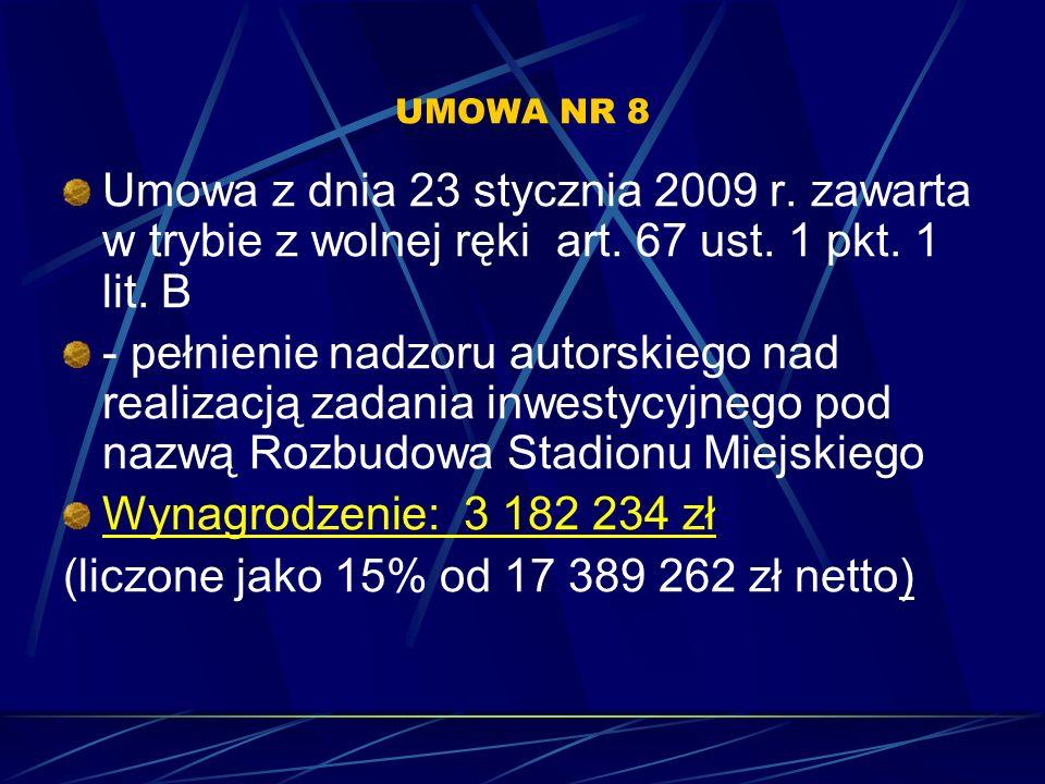 UMOWA NR 8 Umowa z dnia 23 stycznia 2009 r. zawarta w trybie z wolnej ręki art. 67 ust. 1 pkt. 1 lit. B - pełnienie nadzoru autorskiego nad realizacją