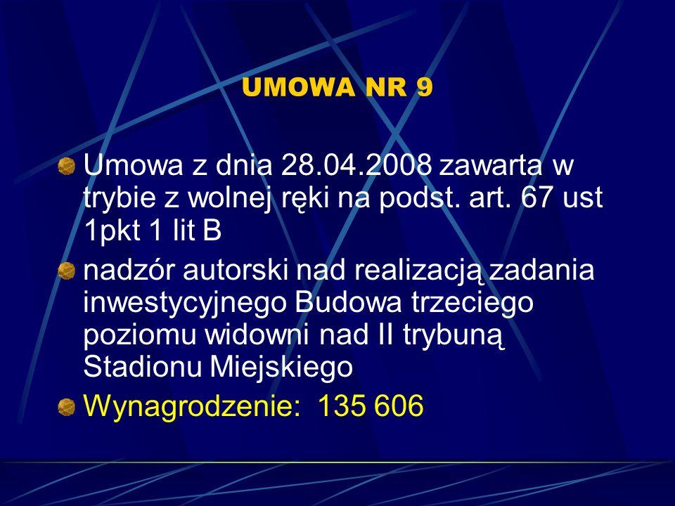UMOWA NR 9 Umowa z dnia 28.04.2008 zawarta w trybie z wolnej ręki na podst. art. 67 ust 1pkt 1 lit B nadzór autorski nad realizacją zadania inwestycyj