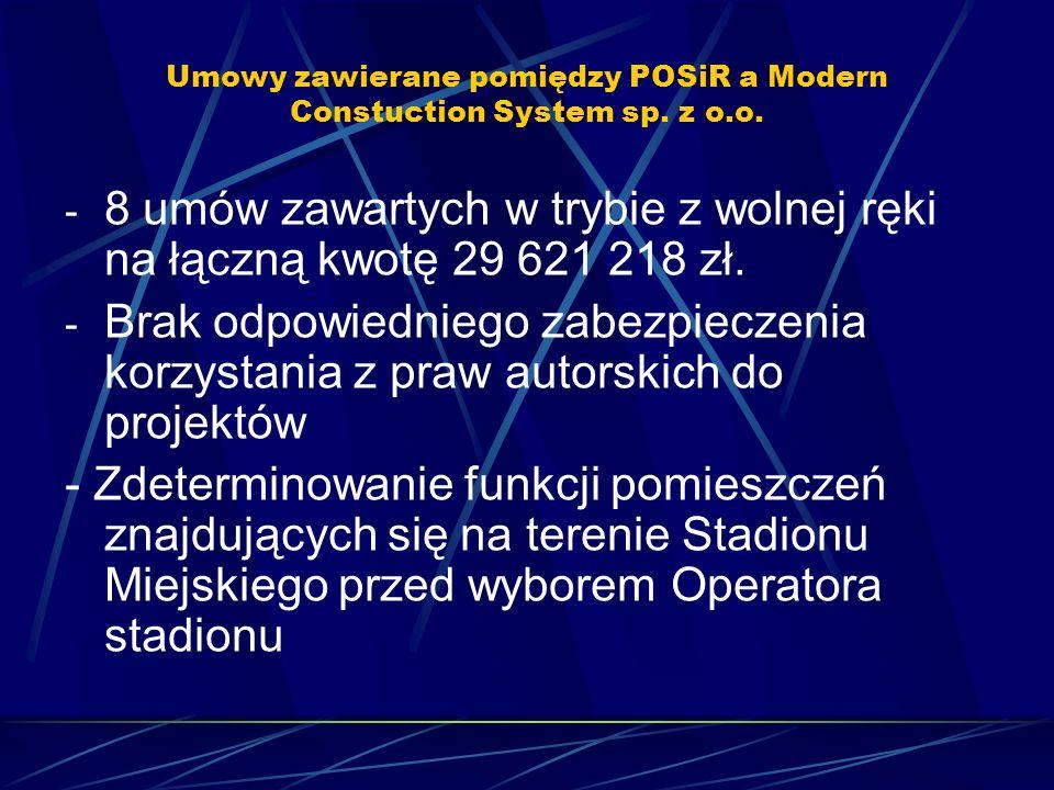 Umowy zawierane pomiędzy POSiR a Modern Constuction System sp. z o.o. - 8 umów zawartych w trybie z wolnej ręki na łączną kwotę 29 621 218 zł. - Brak