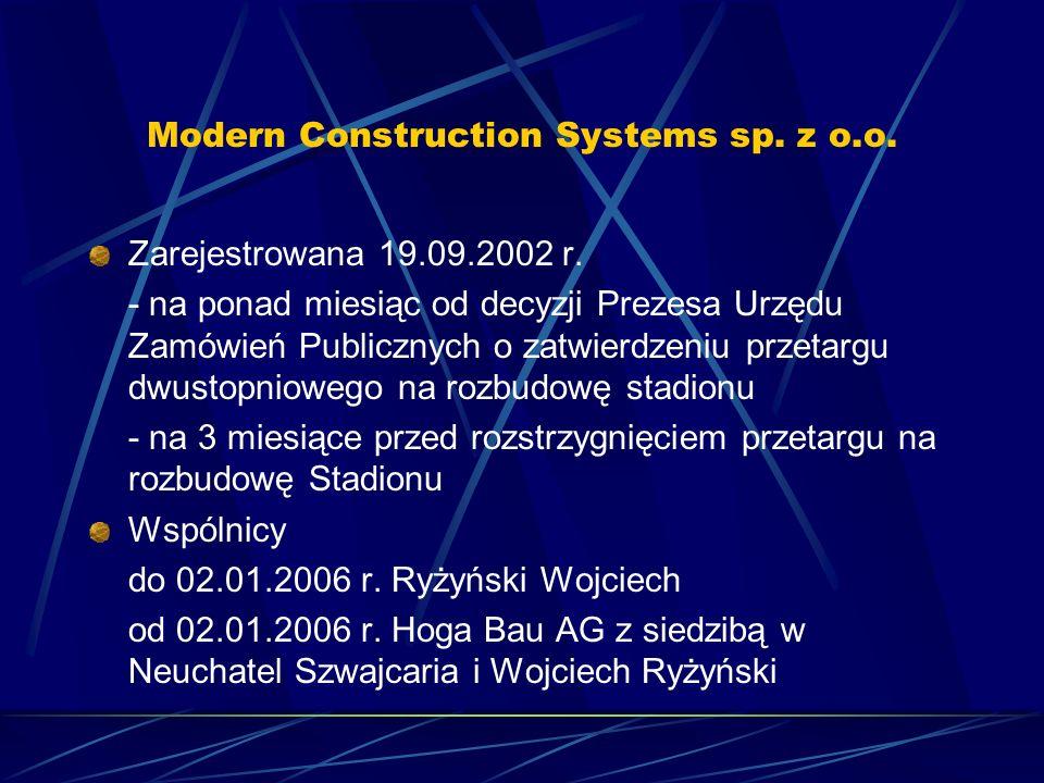 Modern Construction Systems sp. z o.o. Zarejestrowana 19.09.2002 r. - na ponad miesiąc od decyzji Prezesa Urzędu Zamówień Publicznych o zatwierdzeniu