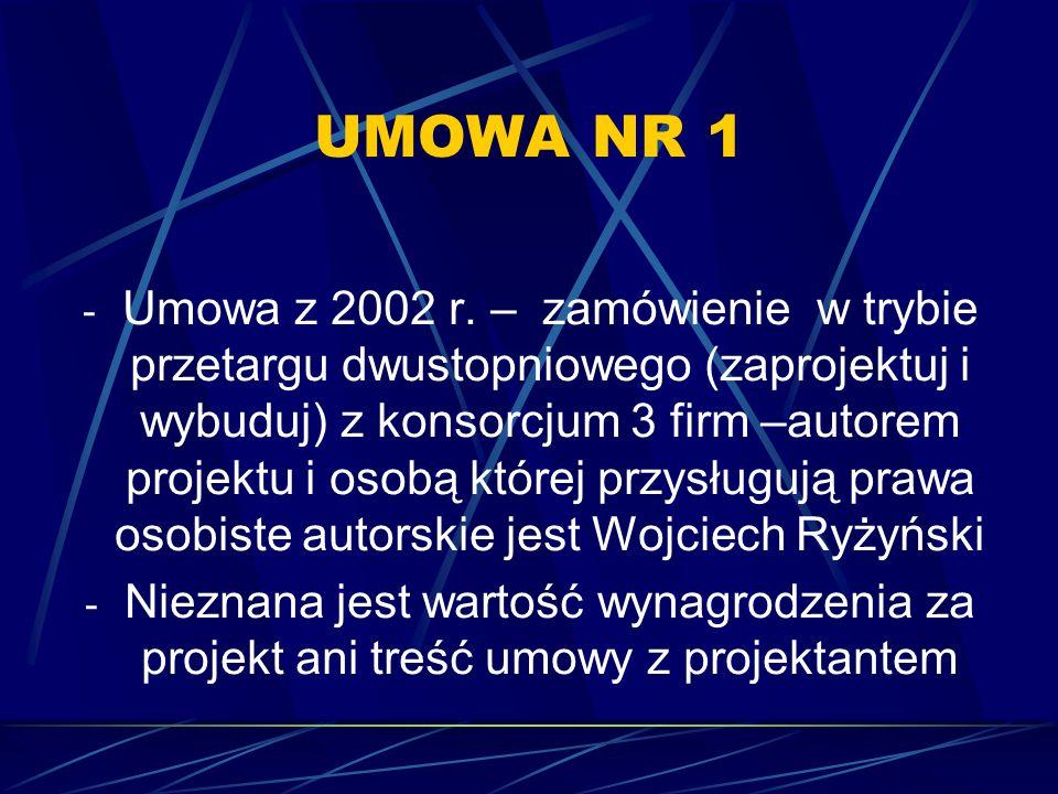 UMOWA NR 1 - Umowa z 2002 r. – zamówienie w trybie przetargu dwustopniowego (zaprojektuj i wybuduj) z konsorcjum 3 firm –autorem projektu i osobą któr