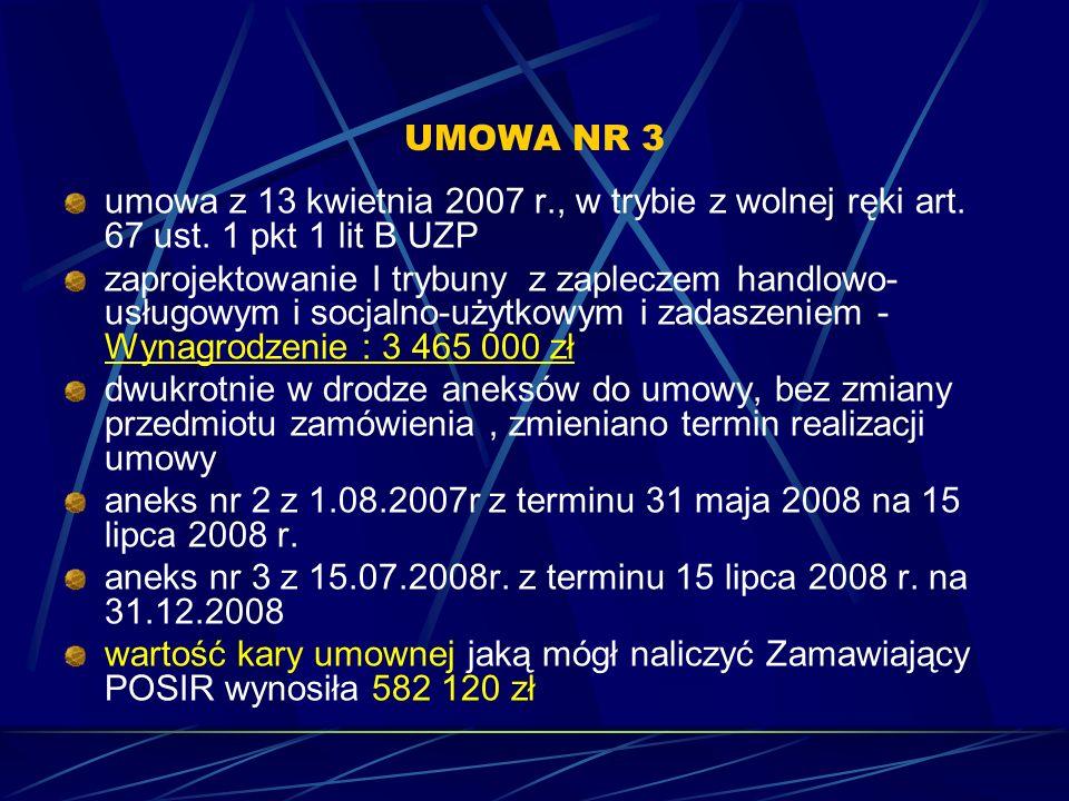 UMOWA NR 3 umowa z 13 kwietnia 2007 r., w trybie z wolnej ręki art. 67 ust. 1 pkt 1 lit B UZP zaprojektowanie I trybuny z zapleczem handlowo- usługowy
