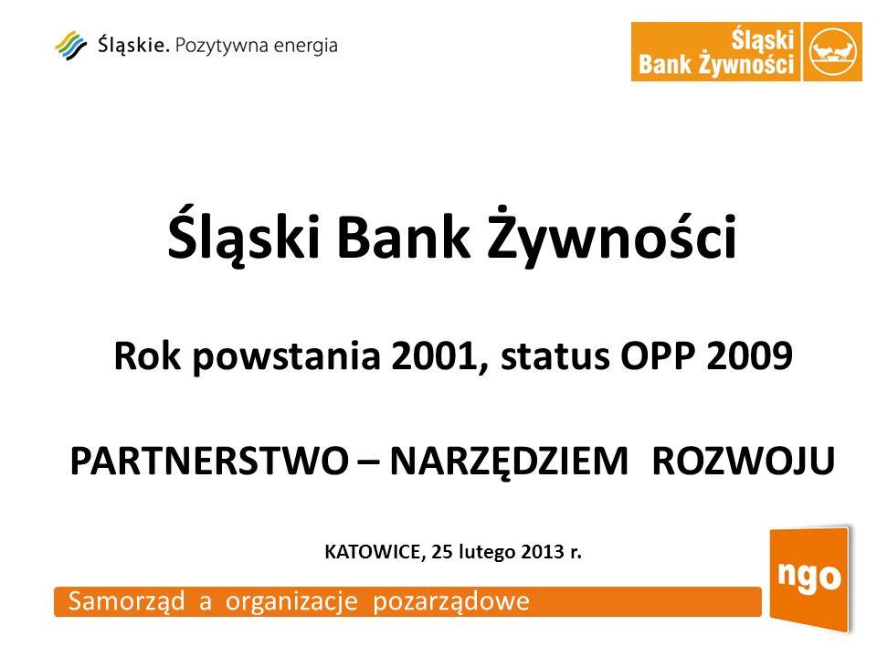 Samorząd a organizacje pozarządowe Śląski Bank Żywności Rok powstania 2001, status OPP 2009 PARTNERSTWO – NARZĘDZIEM ROZWOJU KATOWICE, 25 lutego 2013