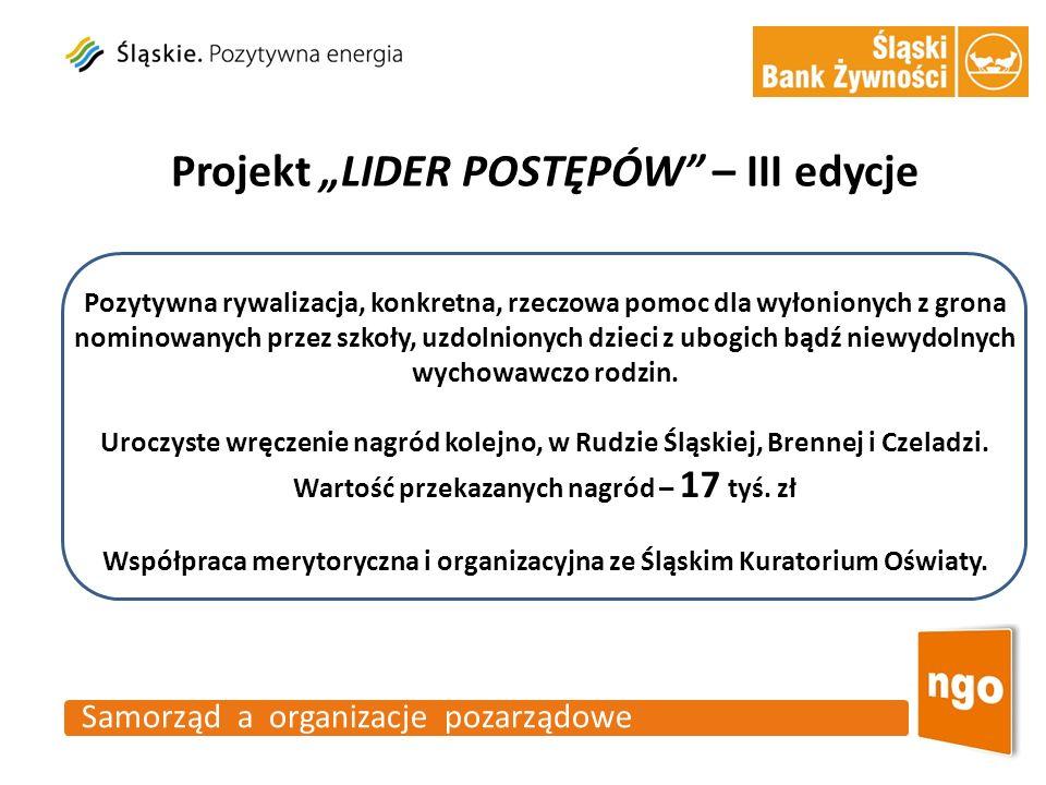 Samorząd a organizacje pozarządowe Projekt LIDER POSTĘPÓW – III edycje Pozytywna rywalizacja, konkretna, rzeczowa pomoc dla wyłonionych z grona nomino