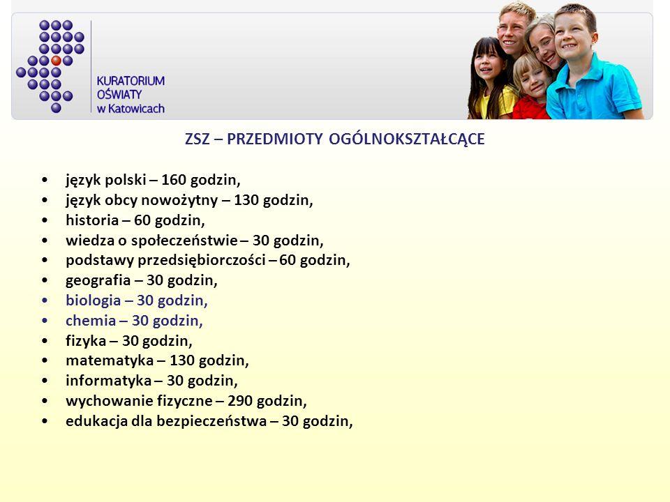 ZSZ – PRZEDMIOTY OGÓLNOKSZTAŁCĄCE język polski – 160 godzin, język obcy nowożytny – 130 godzin, historia – 60 godzin, wiedza o społeczeństwie – 30 god