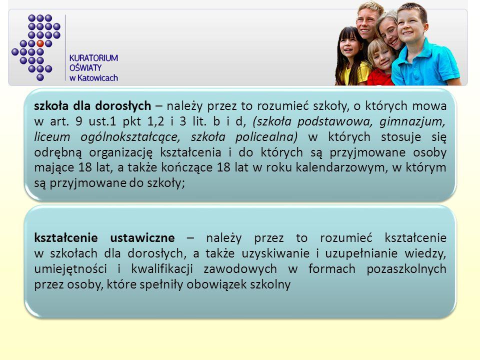 szkoła dla dorosłych – należy przez to rozumieć szkoły, o których mowa w art. 9 ust.1 pkt 1,2 i 3 lit. b i d, (szkoła podstawowa, gimnazjum, liceum og