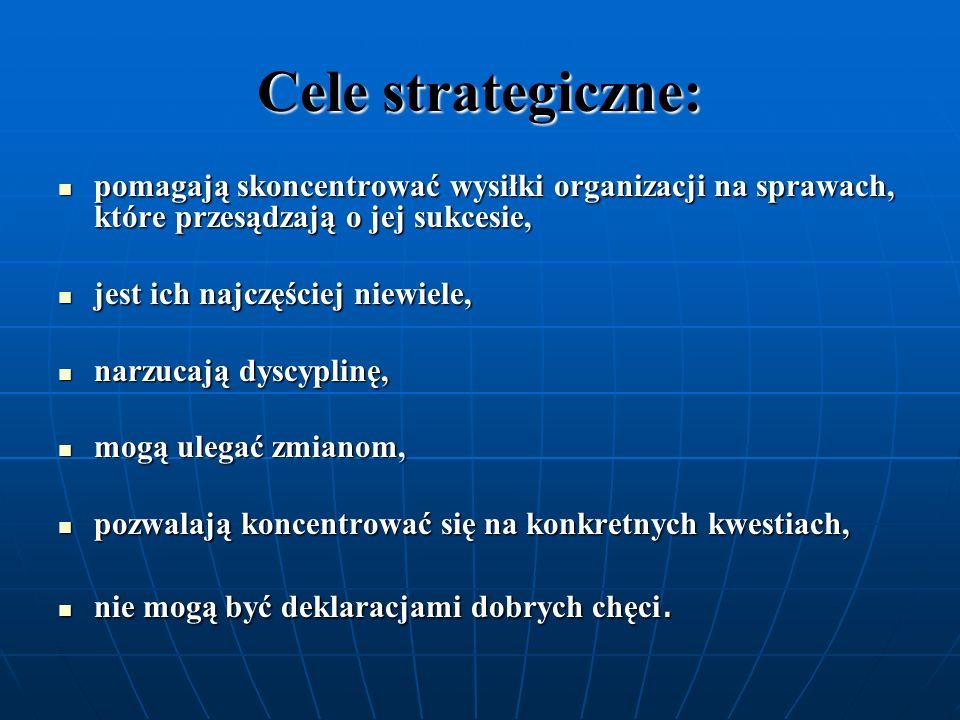 Cele strategiczne: pomagają skoncentrować wysiłki organizacji na sprawach, które przesądzają o jej sukcesie, pomagają skoncentrować wysiłki organizacj