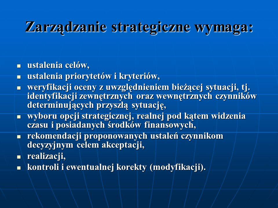 Zarządzanie strategiczne wymaga: ustalenia celów, ustalenia celów, ustalenia priorytetów i kryteriów, ustalenia priorytetów i kryteriów, weryfikacji o