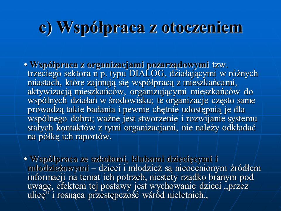 c) Współpraca z otoczeniem Współpraca z organizacjami pozarządowymi tzw. trzeciego sektora n p. typu DIALOG, działającymi w różnych miastach, które za