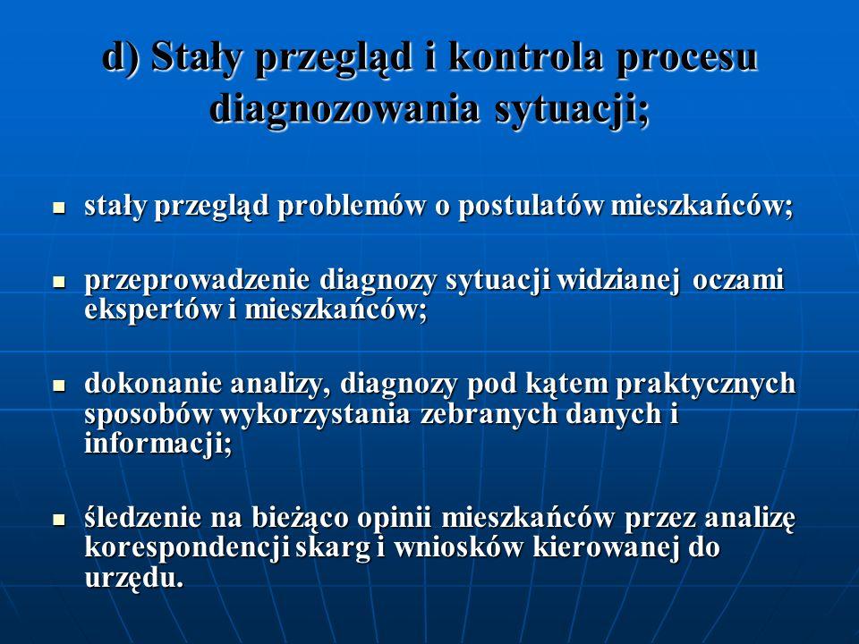 d) Stały przegląd i kontrola procesu diagnozowania sytuacji; stały przegląd problemów o postulatów mieszkańców; stały przegląd problemów o postulatów