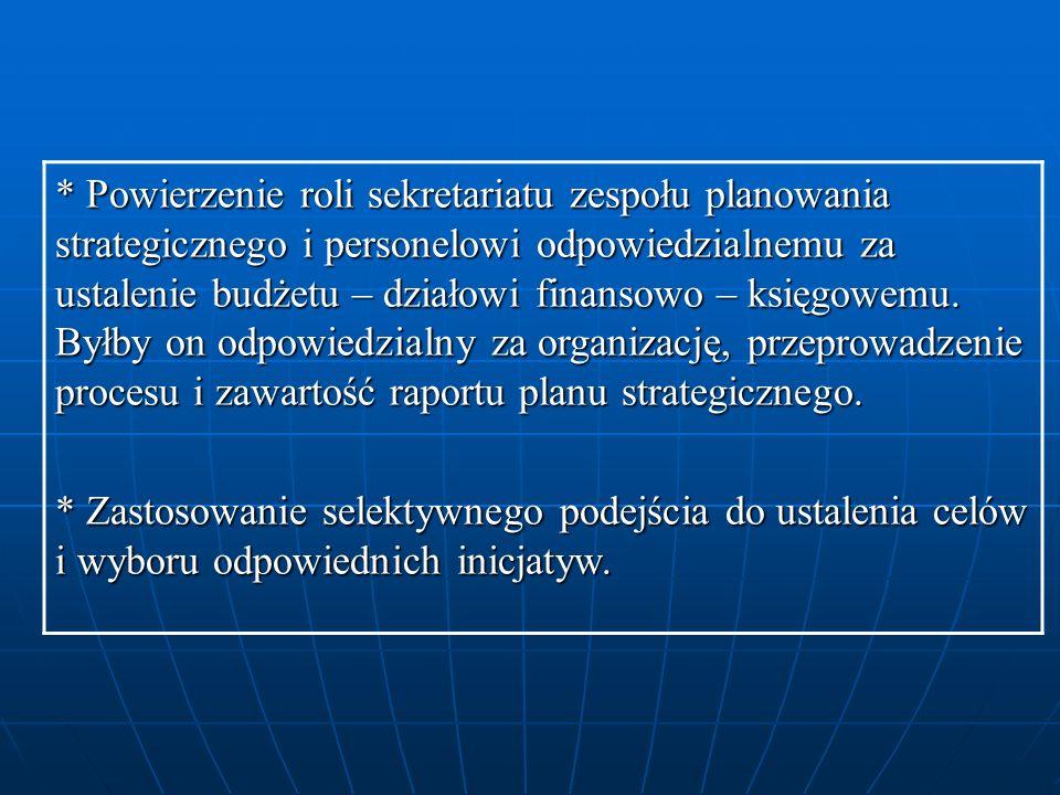* Powierzenie roli sekretariatu zespołu planowania strategicznego i personelowi odpowiedzialnemu za ustalenie budżetu – działowi finansowo – księgowem