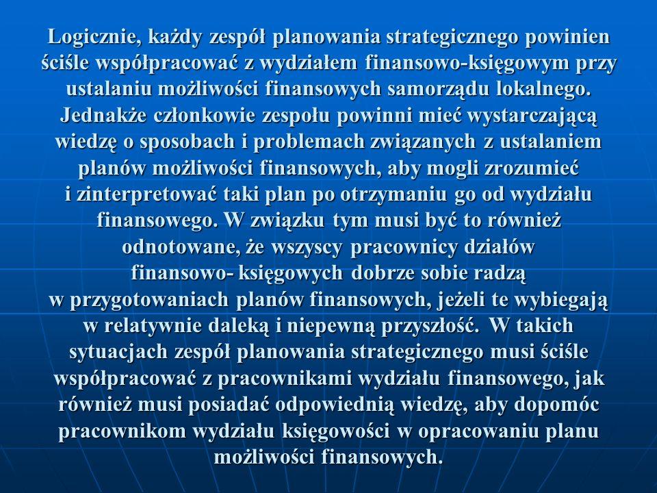 Logicznie, każdy zespół planowania strategicznego powinien ściśle współpracować z wydziałem finansowo-księgowym przy ustalaniu możliwości finansowych