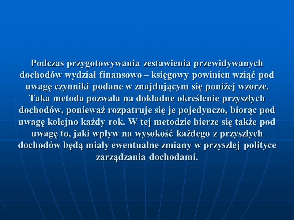 Podczas przygotowywania zestawienia przewidywanych dochodów wydział finansowo – księgowy powinien wziąć pod uwagę czynniki podane w znajdującym się po