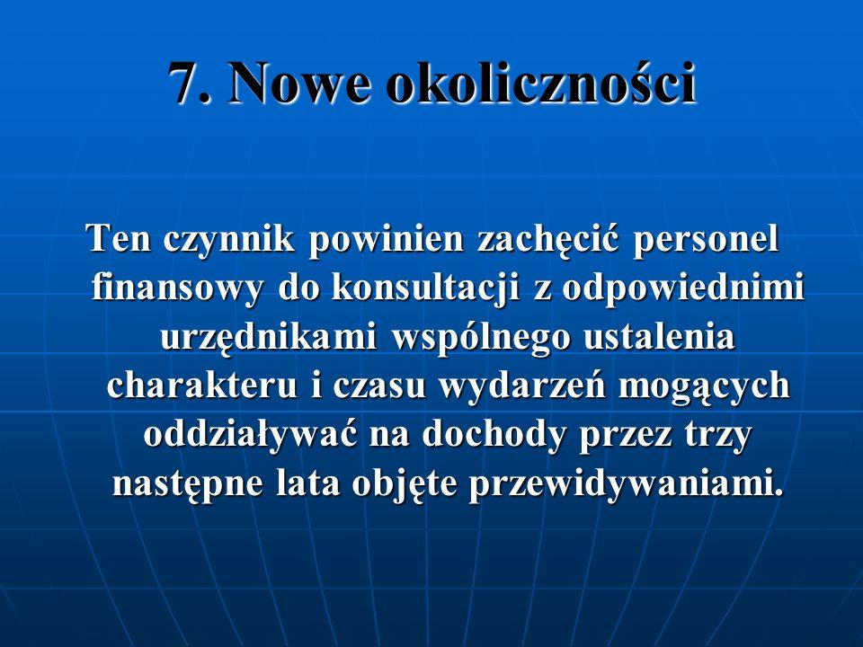 7. Nowe okoliczności Ten czynnik powinien zachęcić personel finansowy do konsultacji z odpowiednimi urzędnikami wspólnego ustalenia charakteru i czasu