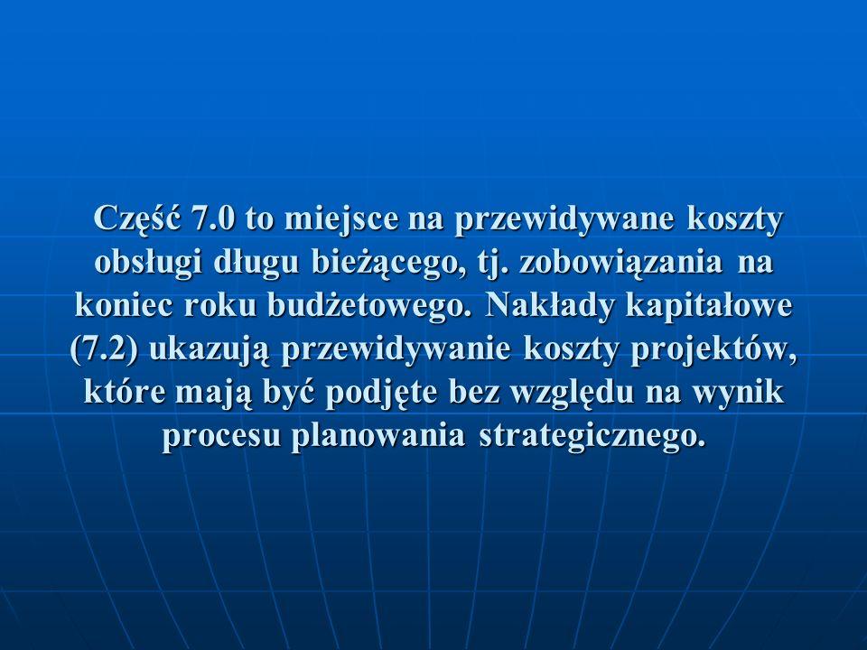 Część 7.0 to miejsce na przewidywane koszty obsługi długu bieżącego, tj. zobowiązania na koniec roku budżetowego. Nakłady kapitałowe (7.2) ukazują prz