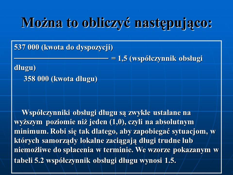 Można to obliczyć następująco: 537 000 (kwota do dyspozycji) = 1,5 (współczynnik obsługi długu) = 1,5 (współczynnik obsługi długu) 358 000 (kwota dług