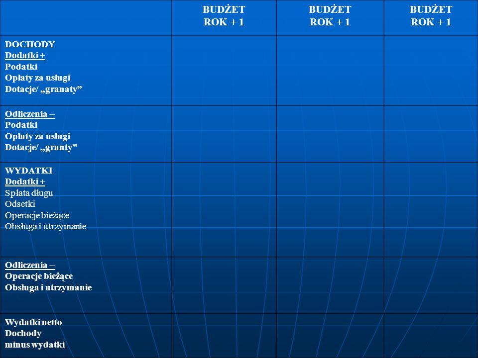 BUDŻET ROK + 1 BUDŻET ROK + 1 BUDŻET ROK + 1 DOCHODY Dodatki + Podatki Opłaty za usługi Dotacje/ granaty Odliczenia – Podatki Opłaty za usługi Dotacje