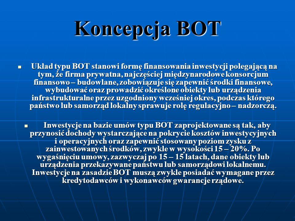 Koncepcja BOT Układ typu BOT stanowi formę finansowania inwestycji polegającą na tym, że firma prywatna, najczęściej międzynarodowe konsorcjum finanso