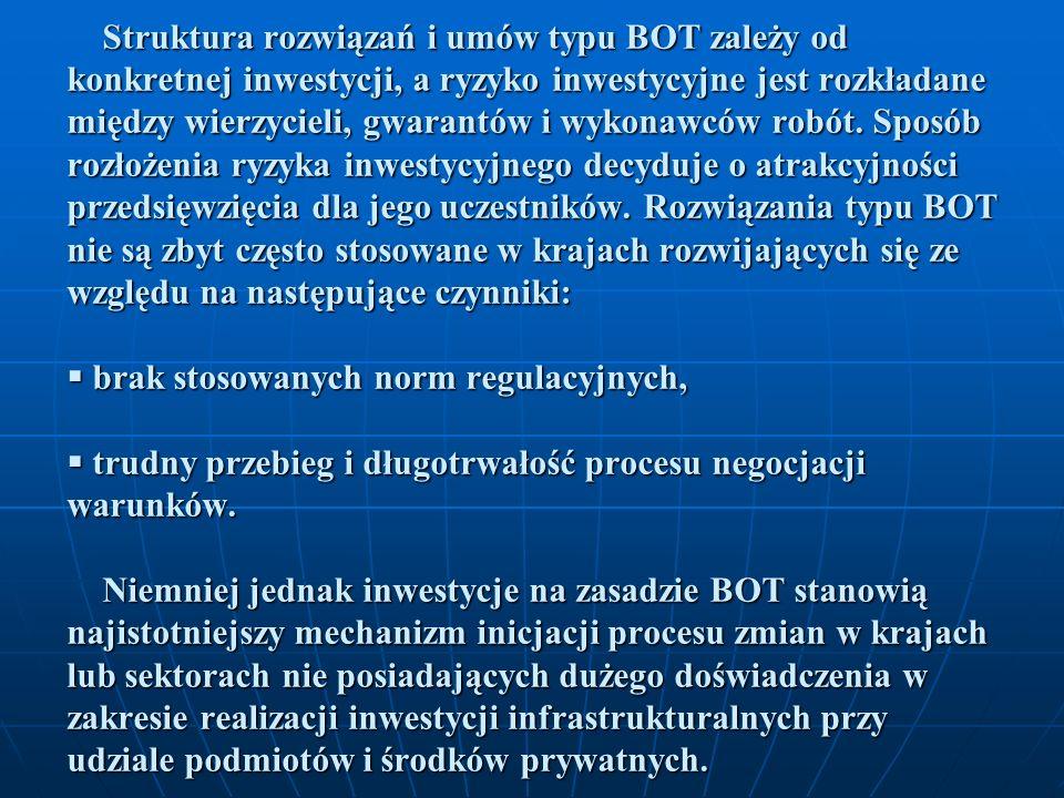 Struktura rozwiązań i umów typu BOT zależy od konkretnej inwestycji, a ryzyko inwestycyjne jest rozkładane między wierzycieli, gwarantów i wykonawców