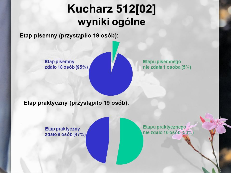 Kucharz 512[02] wyniki ogólne Etap pisemny (przystąpiło 19 osób): Etap pisemny zdało 18 osób (95%) Etapu pisemnego nie zdała 1 osoba (5%) Etap praktyc