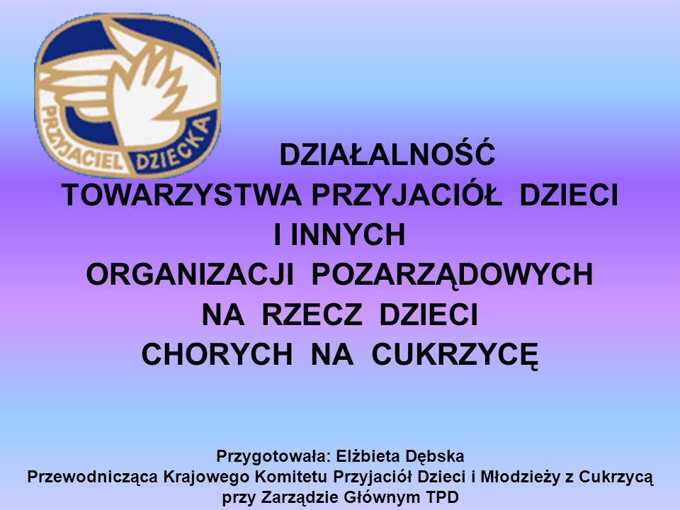 Przygotowała: Elżbieta Dębska Przewodnicząca Krajowego Komitetu Przyjaciół Dzieci i Młodzieży z Cukrzycą przy Zarządzie Głównym TPD DZIAŁALNOŚĆ TOWARZ
