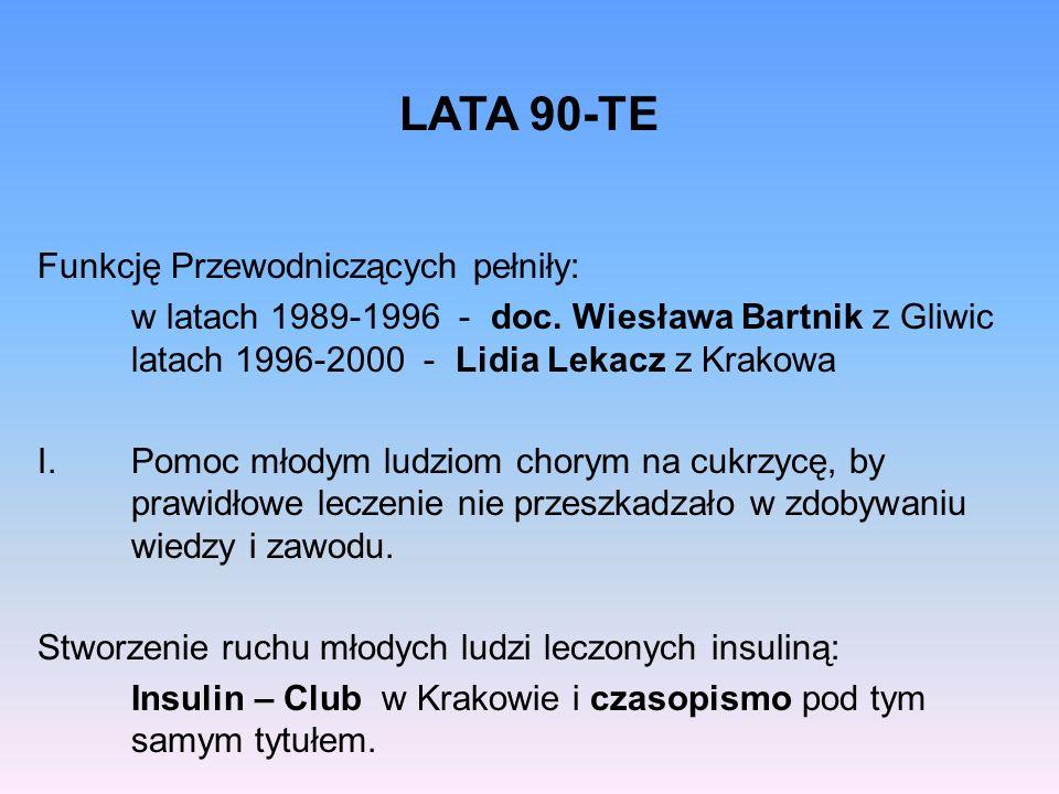 Funkcję Przewodniczących pełniły: w latach 1989-1996 - doc. Wiesława Bartnik z Gliwic latach 1996-2000 - Lidia Lekacz z Krakowa I.Pomoc młodym ludziom