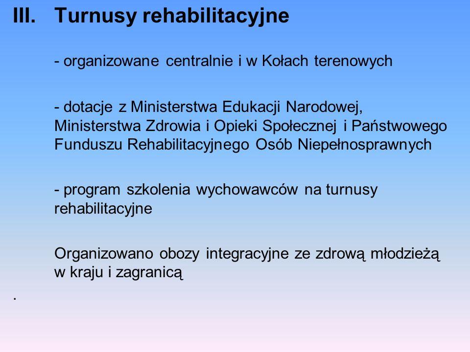 III.Turnusy rehabilitacyjne - organizowane centralnie i w Kołach terenowych - dotacje z Ministerstwa Edukacji Narodowej, Ministerstwa Zdrowia i Opieki