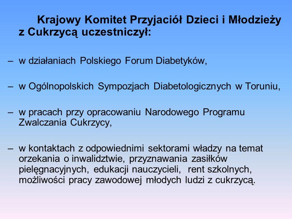 Krajowy Komitet Przyjaciół Dzieci i Młodzieży z Cukrzycą uczestniczył: –w działaniach Polskiego Forum Diabetyków, –w Ogólnopolskich Sympozjach Diabeto