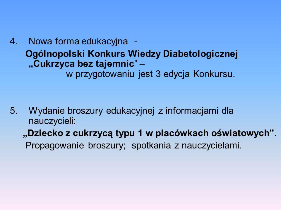 4.Nowa forma edukacyjna - Ogólnopolski Konkurs Wiedzy Diabetologicznej Cukrzyca bez tajemnic – w przygotowaniu jest 3 edycja Konkursu. 5.Wydanie brosz