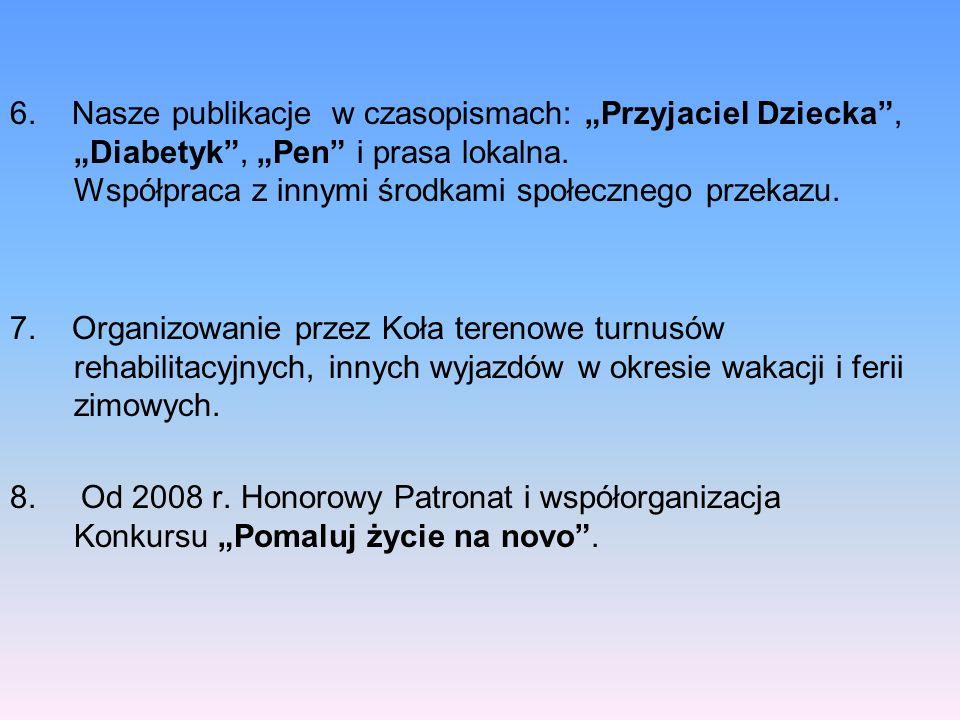6. Nasze publikacje w czasopismach: Przyjaciel Dziecka, Diabetyk, Pen i prasa lokalna. Współpraca z innymi środkami społecznego przekazu. 7. Organizow