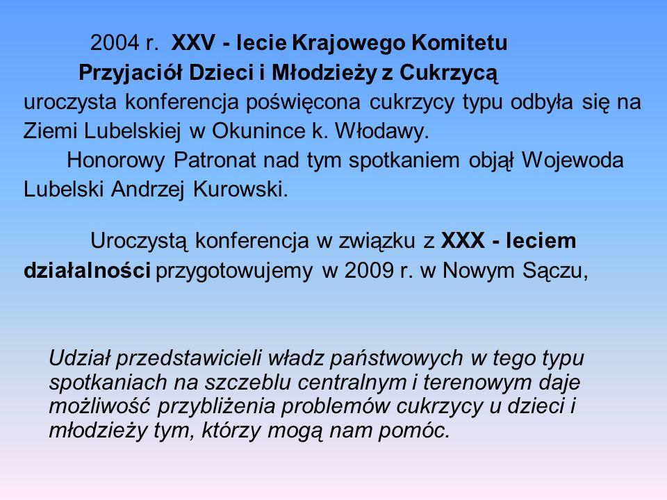 2004 r. XXV - lecie Krajowego Komitetu Przyjaciół Dzieci i Młodzieży z Cukrzycą uroczysta konferencja poświęcona cukrzycy typu odbyła się na Ziemi Lub