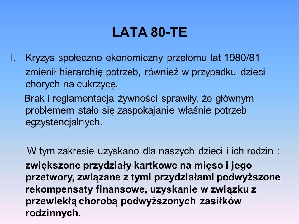 II.Powstał pierwszy Poradnika dla rodziców autorstwa dr Olszowskiej – kierownik Sanatorium dla dzieci z cukrzycą w Rabce, dr Ludwiczak i dr Symonides- Ławeckiej ze szpitala w Warszawie, przy ul.