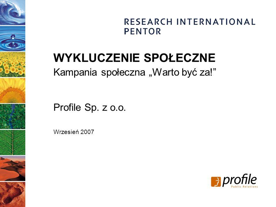Profile Sp. z o.o. Wrzesień 2007 Kampania społeczna Warto być za! WYKLUCZENIE SPOŁECZNE