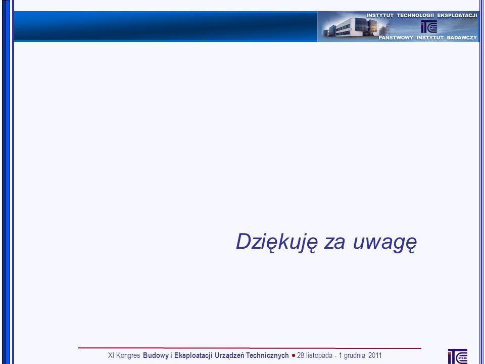 Dziękuję za uwagę XI Kongres Budowy i Eksploatacji Urządzeń Technicznych 28 listopada - 1 grudnia 2011