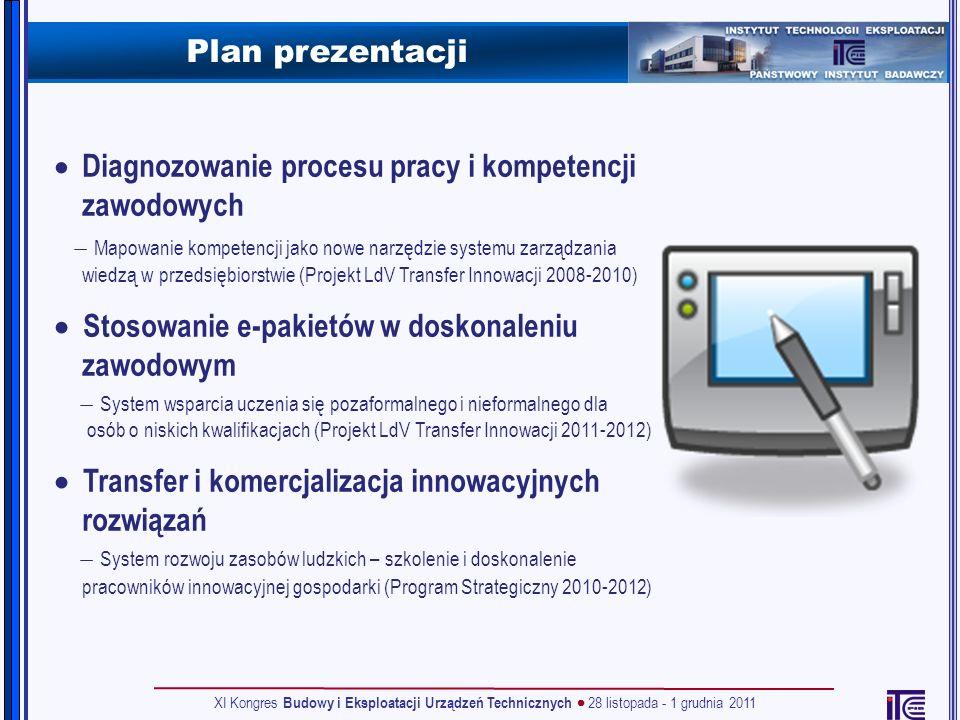 Plan prezentacji Diagnozowanie procesu pracy i kompetencji zawodowych Mapowanie kompetencji jako nowe narzędzie systemu zarządzania wiedzą w przedsięb