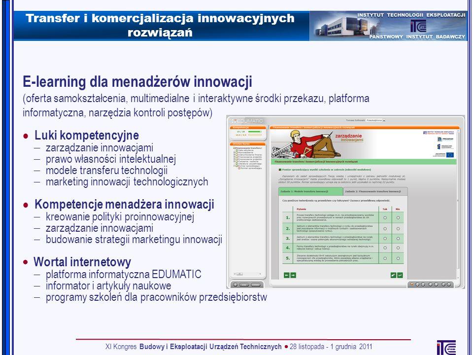Transfer i komercjalizacja innowacyjnych rozwiązań E-learning dla menadżerów innowacji (oferta samokształcenia, multimedialne i interaktywne środki pr