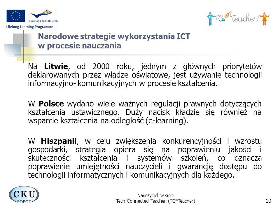 Nauczyciel w sieci Tech-Connected Teacher (TC*Teacher) 10 Narodowe strategie wykorzystania ICT w procesie nauczania Na Litwie, od 2000 roku, jednym z