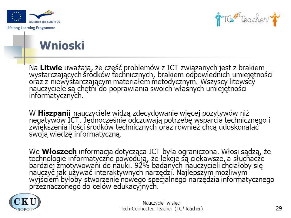 Nauczyciel w sieci Tech-Connected Teacher (TC*Teacher) 29 Wnioski Na Litwie uważają, że część problemów z ICT związanych jest z brakiem wystarczającyc