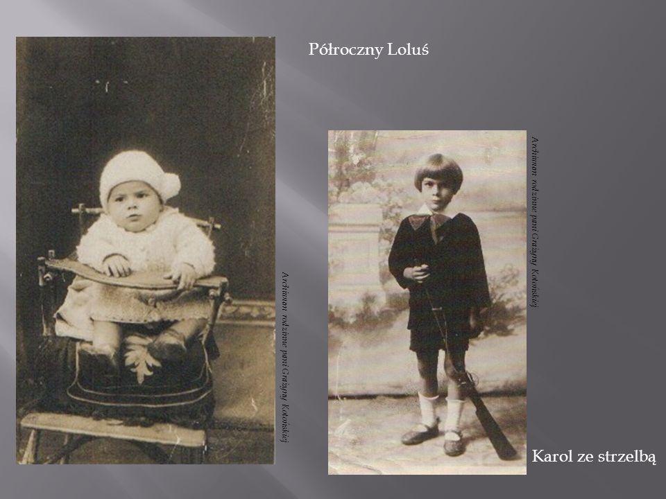 Karol jako ułan Poświętna 4, od lewej wujek Eugeniusz Zalewski z córką Anną, Karol, mama Janina, wujenka Genowefa i Gertruda Zalewska Archiwum rodzinne pani Grażyny Kotońskiej