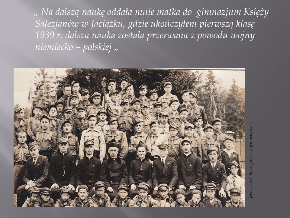 Po odzyskaniu wolności ponownie zacząłem moją naukę w pierwszej licealnej w Warszawie w gimnazjum im.