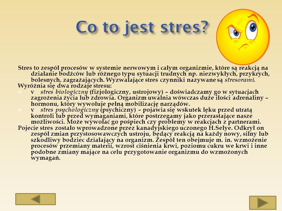 Stres to zespół procesów w systemie nerwowym i całym organizmie, które są reakcją na działanie bodźców lub różnego typu sytuacji trudnych np. niezwykł
