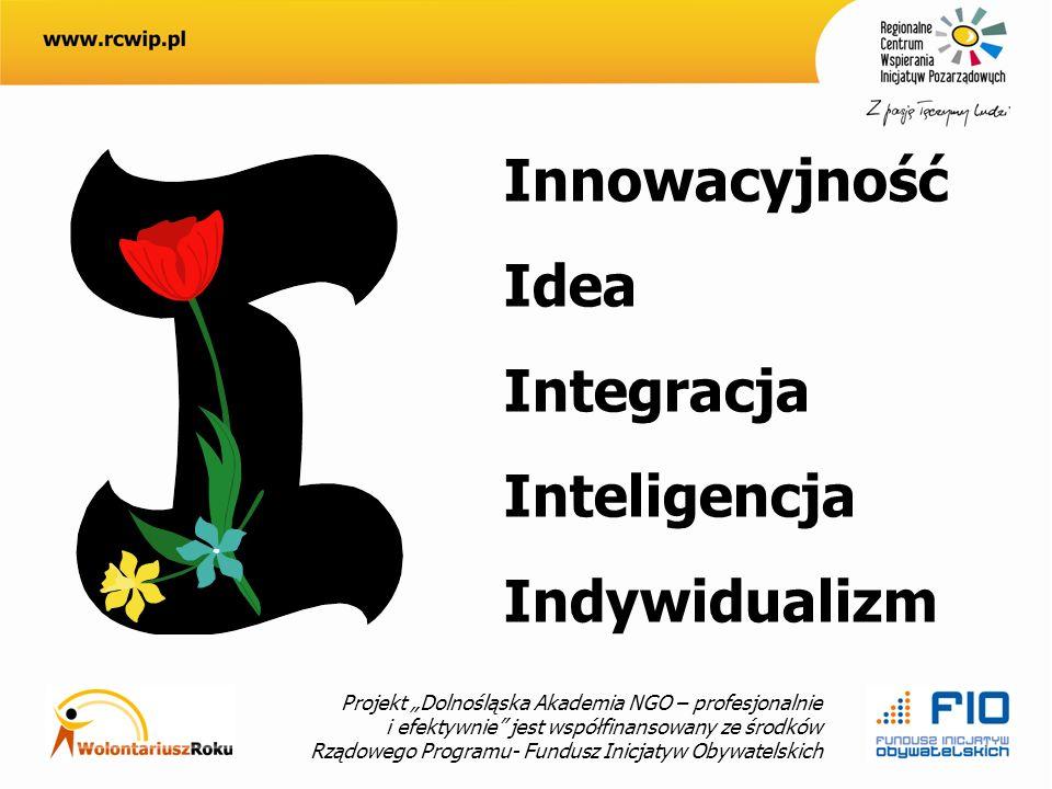 Projekt Dolnośląska Akademia NGO – profesjonalnie i efektywnie jest współfinansowany ze środków Rządowego Programu- Fundusz Inicjatyw Obywatelskich Innowacyjność Idea Integracja Inteligencja Indywidualizm