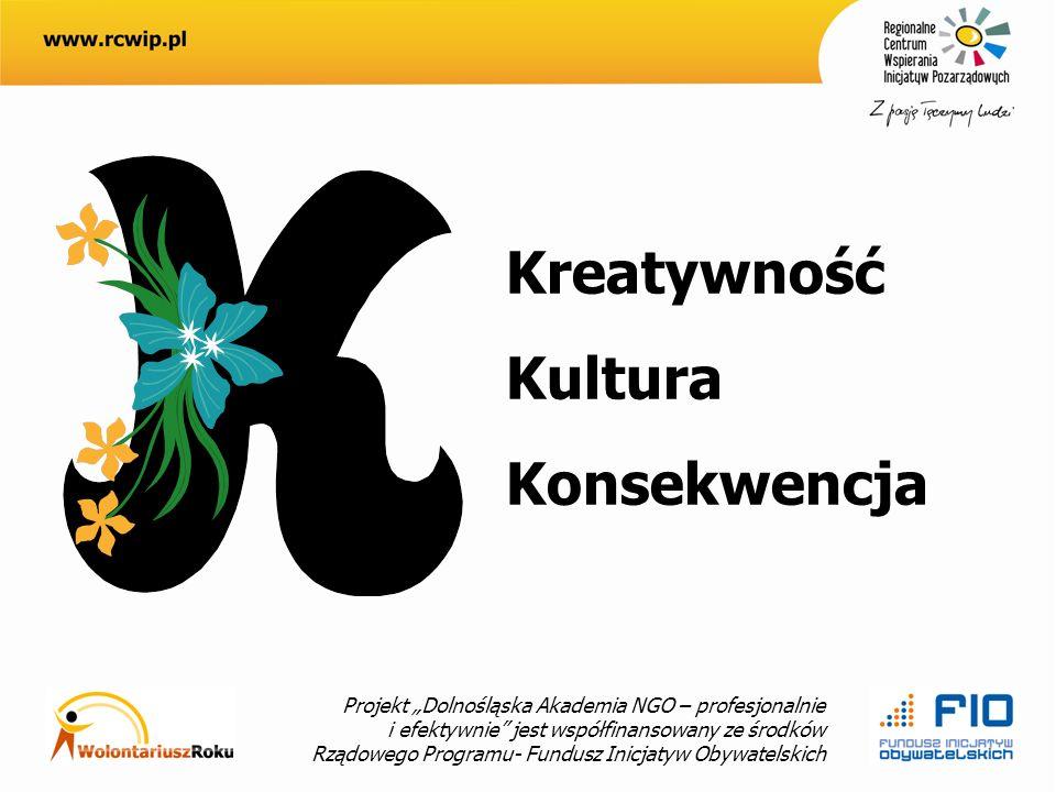 Projekt Dolnośląska Akademia NGO – profesjonalnie i efektywnie jest współfinansowany ze środków Rządowego Programu- Fundusz Inicjatyw Obywatelskich Kreatywność Kultura Konsekwencja