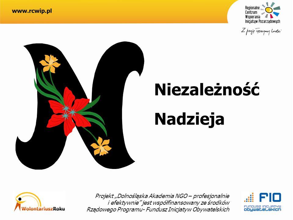 Projekt Dolnośląska Akademia NGO – profesjonalnie i efektywnie jest współfinansowany ze środków Rządowego Programu- Fundusz Inicjatyw Obywatelskich Niezależność Nadzieja