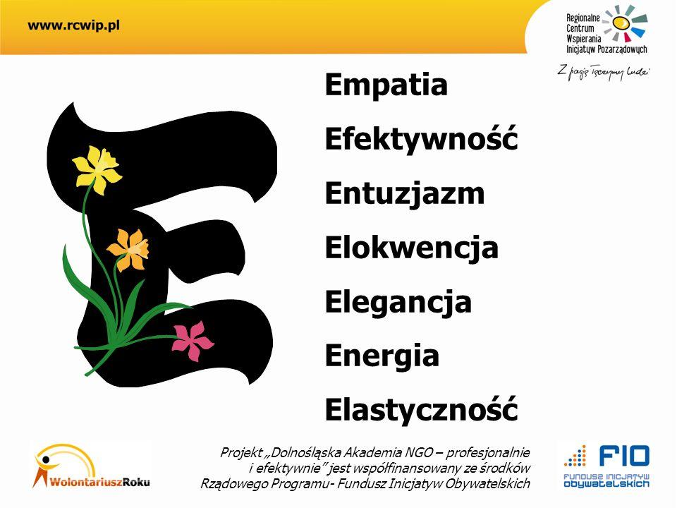 Projekt Dolnośląska Akademia NGO – profesjonalnie i efektywnie jest współfinansowany ze środków Rządowego Programu- Fundusz Inicjatyw Obywatelskich Empatia Efektywność Entuzjazm Elokwencja Elegancja Energia Elastyczność