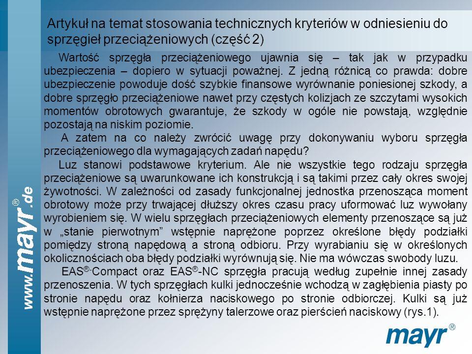 Artykuł na temat zastosowania technicznych kryteriów w odniesieniu do sprzęgieł przeciążeniowych (część 1) Sprzęgła przeciążeniowe (bezpieczeństwa) dl