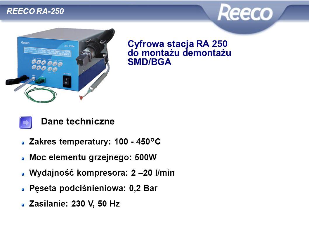 Dane techniczne Zakres temperatury: 100 - 450°C Moc elementu grzejnego: 500W Wydajność kompresora: 2 –20 l/min Pęseta podciśnieniowa: 0,2 Bar Zasilani