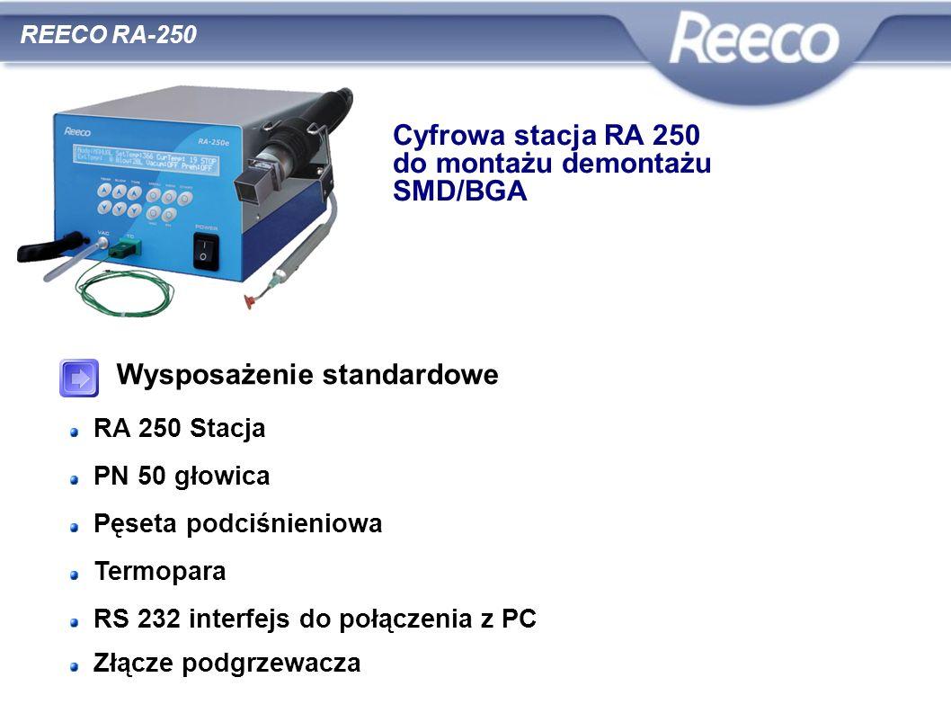 Wysposażenie standardowe RA 250 Stacja PN 50 głowica Pęseta podciśnieniowa Termopara RS 232 interfejs do połączenia z PC Złącze podgrzewacza REECO RA-