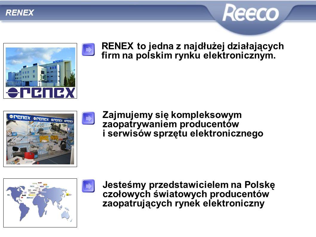 RENEX RENEX to jedna z najdłużej działających firm na polskim rynku elektronicznym. Zajmujemy się kompleksowym zaopatrywaniem producentów i serwisów s